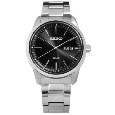 SEIKO 精工 太陽能 藍寶石水晶玻璃 星期日期 防水 不鏽鋼手錶-黑色/40mm