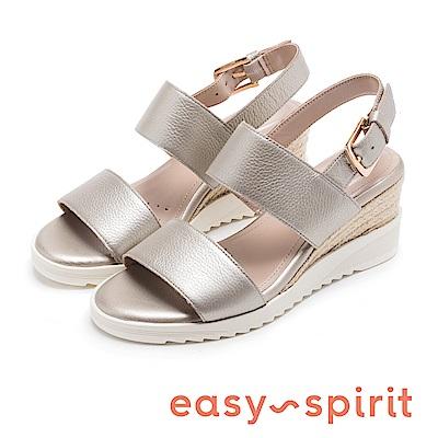 Easy Spirit evZEN 寬帶後繫帶高跟楔型涼鞋-鐵色