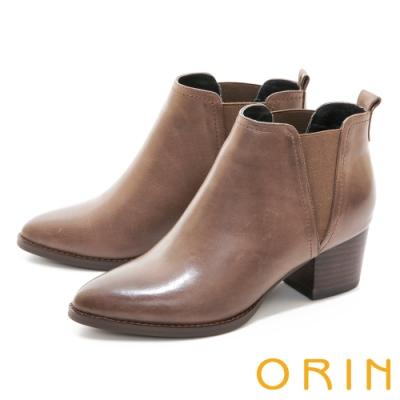 ORIN 雙色蠟感真皮粗跟 女 短靴 可可
