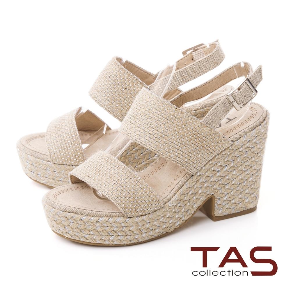 TAS寬版一字帶麻繩底台高跟涼鞋-百搭銀