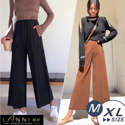 【LANNI 藍尼】毛呢高腰闊腿褲(寬褲M-3XL)●