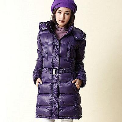 【TOP GIRL】繫腰扣環連帽長羽絨外套 - 深情紫