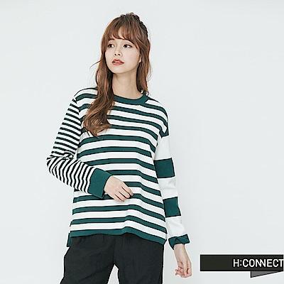 H:CONNECT 韓國品牌 女裝-不對稱條紋細針織上衣-綠