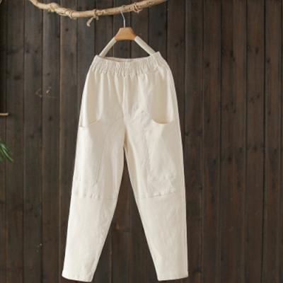 素色棉質大口袋拼接鬆緊腰寬鬆蘿蔔長褲-設計所在
