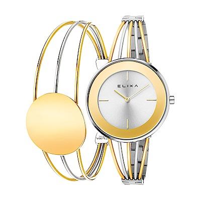 ELIXA  Finesse精巧時間雙色系列手錶手環組合 金x銀36mm