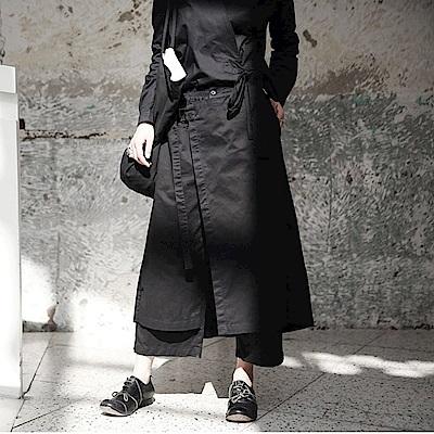 寬鬆綁帶帥氣中性休閒褲裙武士褲/設計所在K-550