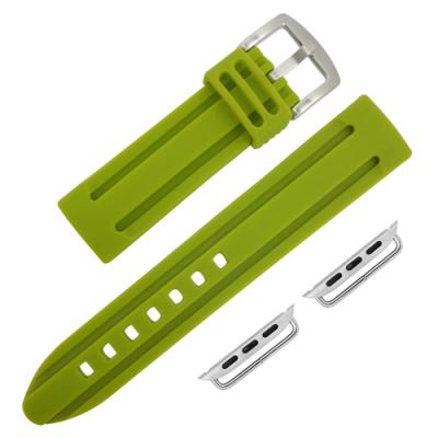 Apple Watch 蘋果手錶替用錶帶 加厚 矽膠錶帶-綠色