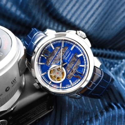 SEIKO 精工 Premier 藍寶石水晶玻璃 防水100米 牛皮機械錶-藍色/42mm
