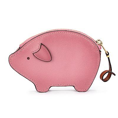 COACH 可愛小豬造型皮革零錢/鑰匙包-玫瑰粉色