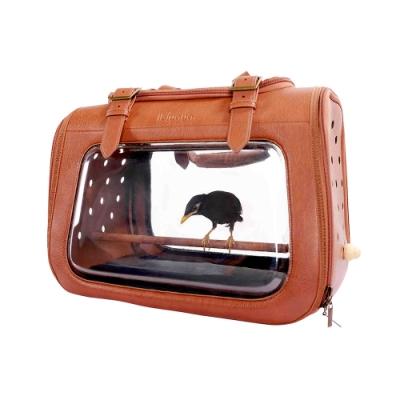 IBIYAYA依比呀呀-移動櫥窗透明寵物提包(咖啡皮革)+實木小型鳥站架