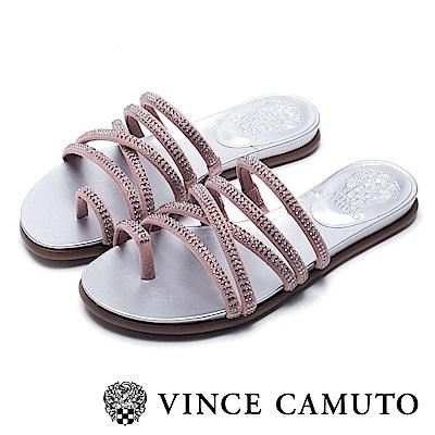 VINCE CAMUTO 交叉帶水鑽平底涼鞋-絨粉