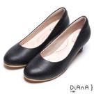 DIANA漫步雲端輕盈美人款--素雅蜥蜴壓紋質感真皮跟鞋-黑
