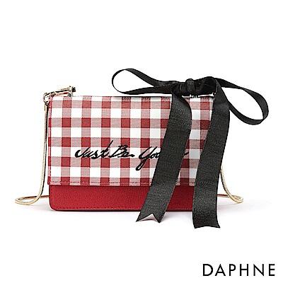 達芙妮DAPHNE-幾合格紋蝴蝶結飾鍊帶小方包-紅色