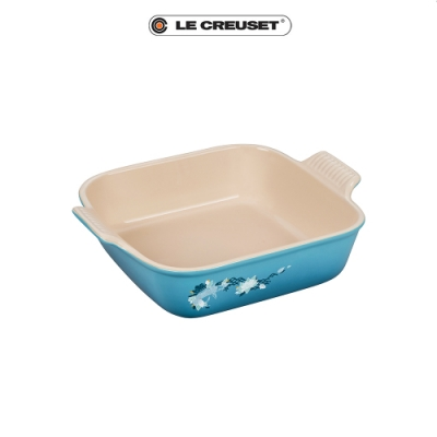LE CREUSET  雙魚戲荷瓷器方型烤盤23cm(加勒比海藍)