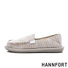 HANNFORT COZY 條紋舒適懶人鞋-女-淺卡其
