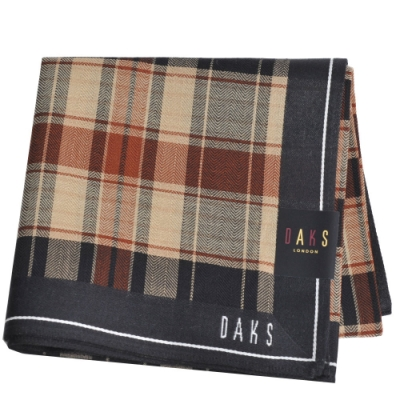 DAKS 經典字母LOGO格紋帕領巾(卡其/黑系)