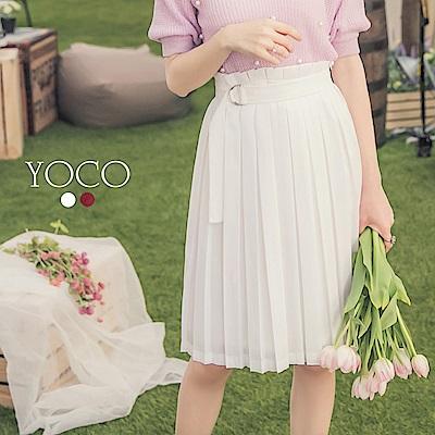東京著衣-yoco 氣質首選百褶附綁帶釦環中長裙-S.M.L(共二色)
