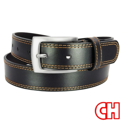 CH-BELT流行雙線設計情侶中性休閒皮帶腰帶(黑)