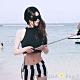 短版後背字母+條紋小褲兩件式泳衣(黑色)-AQUA Peach product thumbnail 1