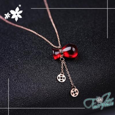 iSFairytale伊飾童話 祝福葫蘆 中國風鈦鋼玫瑰金項鍊