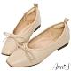 Ann'S法式平底鞋-柔軟全真皮蝴蝶結芭蕾小方頭鞋-杏(版型偏小) product thumbnail 1