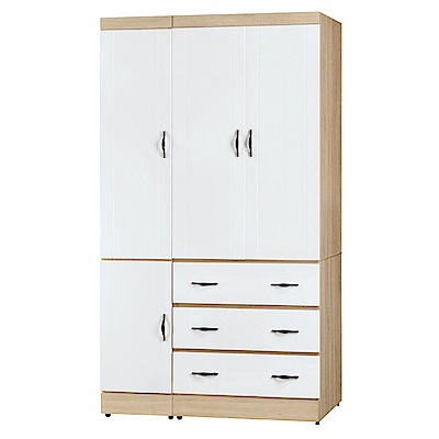 AS-拜爾德白色4x7尺衣櫃-112x57x199cm