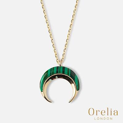 Orelia 英國倫敦 典雅孔雀綠月牙墜飾項鍊
