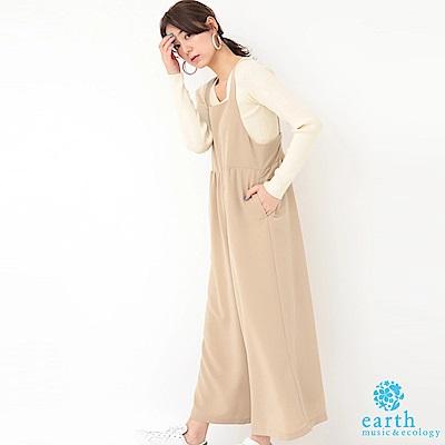 earth music 素面/點點圍裙式連身褲