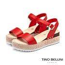 Tino Bellini巴西進口完美工藝編織厚底涼鞋_紅