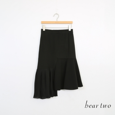 beartwo-拼接中長裙-黑