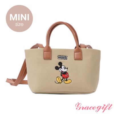 Disney collection by grace gift–唐葳設計迪士尼米奇2WAY帆布包Mini 奶茶色