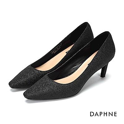 達芙妮DAPHNE 高跟鞋-金蔥亮片尖頭斜跟高跟鞋-黑