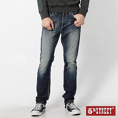5th STREET 粗矌窄直筒伸縮牛仔褲-男-酵洗藍