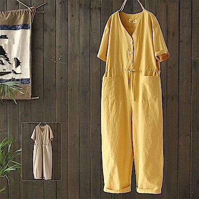 初戀褲寬鬆短袖純棉連身長褲-K1683-設計所在