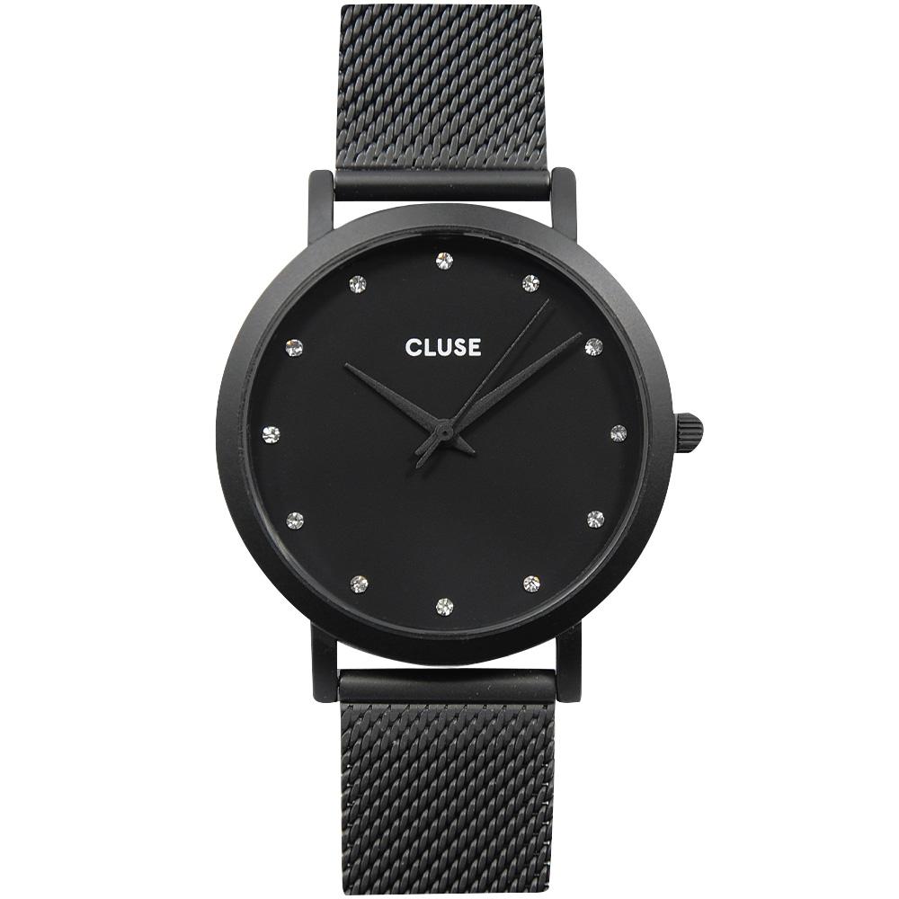 CLUSE PAVANE水晶黑色系列 黑錶盤/黑色金屬錶帶 38mm