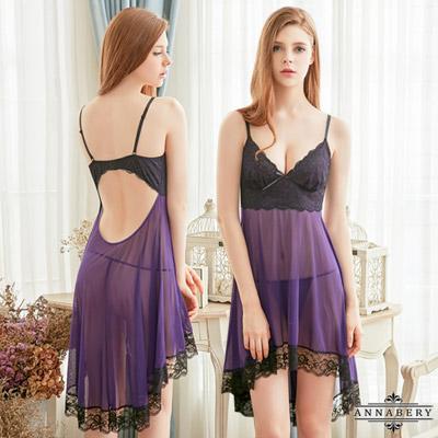 大尺碼深紫迷情柔紗二件式性感睡衣 黑紫L-2L Annabery