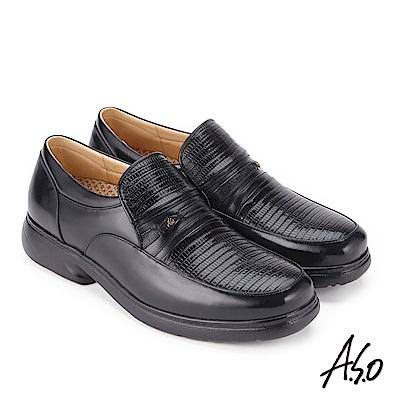 A.S.O 超能耐 壓紋奈米氣墊紳士皮鞋 黑