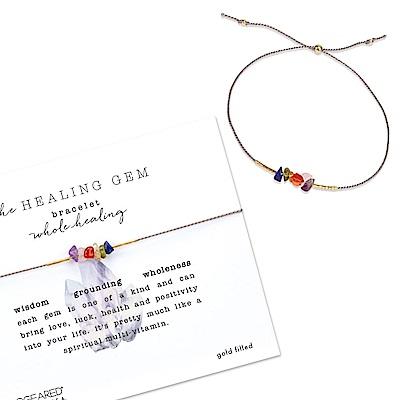 Dogeared 美國品牌 療癒多彩寶石手鍊 灰色絲繩