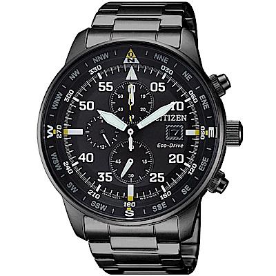 CITIZEN星辰 光動能 飛行旅程 三眼計時手錶(CA0695-84E)-黑/44mm
