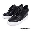 Tino Bellini 立體皮革繁花亮鑽內增高厚底休閒鞋 _ 黑