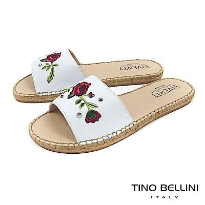 Tino Bellini 西班牙進口電繡玫瑰麻編平底涼拖鞋 _ 白