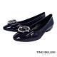 Tino Bellini亮澤牛漆皮金屬釦低跟娃娃鞋_深藍 product thumbnail 1
