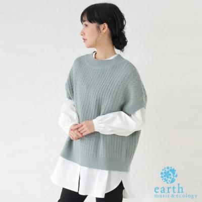 earth music  【SET ITEM】後開衩短袖針織衫+長版襯衫