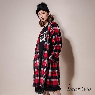 beartwo 英倫風經典格紋毛料連帽大衣外套(二色)