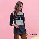 OUWEY歐薇 異材質剪接條紋V領上衣(藍)