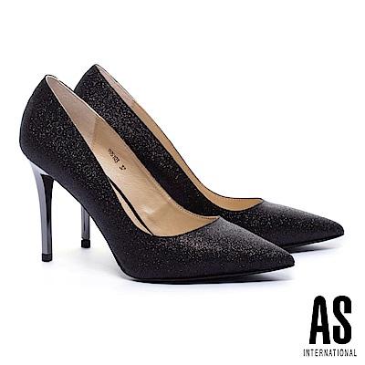高跟鞋 AS 閃耀金蔥光澤真皮美型尖頭高跟鞋-黑