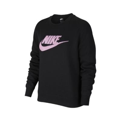 Nike T恤 Essential Sweatshirt 女款 大學T 圓領 基本 內刷毛 絨毛Logo 黑 紫 DC5139010