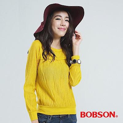 BOBSON 壓百摺上衣(黃色)