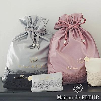 Maison de FLEUR 浪漫玫瑰花邊束口包