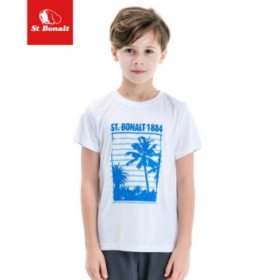 【St.Bonalt 聖伯納】男童 運動休閒短袖上衣 吸濕 排汗 透氣 透風 速乾 涼感 短袖 運動 休閒-8069